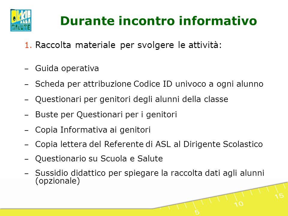 1. Raccolta materiale per svolgere le attività: Guida operativa Scheda per attribuzione Codice ID univoco a ogni alunno Questionari per genitori degli