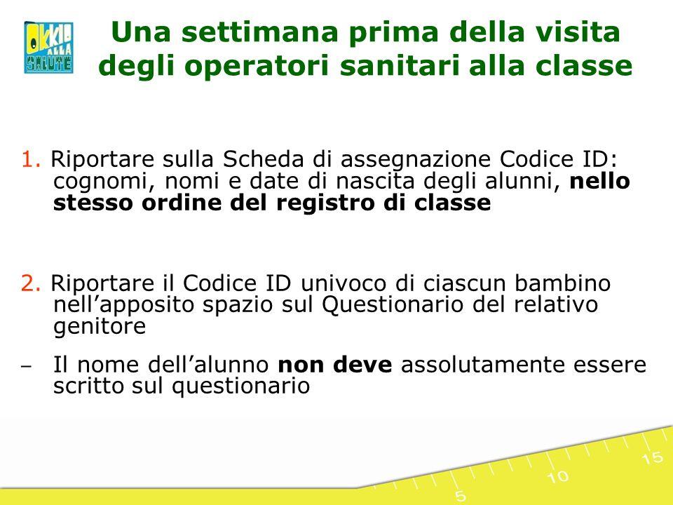 1. Riportare sulla Scheda di assegnazione Codice ID: cognomi, nomi e date di nascita degli alunni, nello stesso ordine del registro di classe 2. Ripor