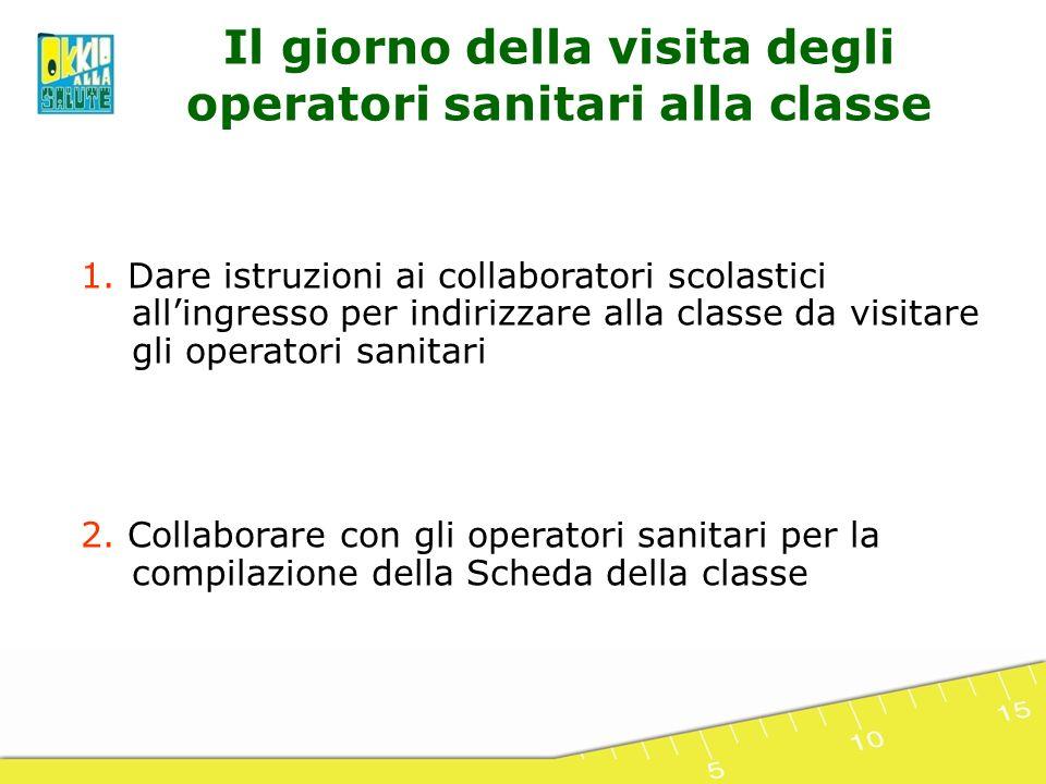 1. Dare istruzioni ai collaboratori scolastici allingresso per indirizzare alla classe da visitare gli operatori sanitari 2. Collaborare con gli opera