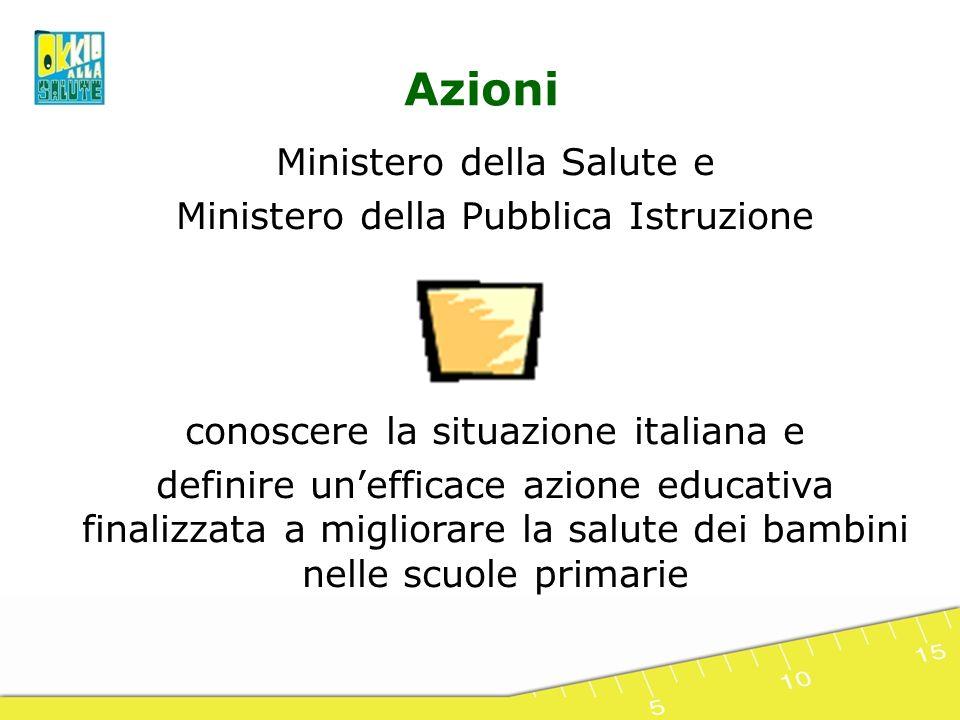 Ministero della Salute e Ministero della Pubblica Istruzione conoscere la situazione italiana e definire unefficace azione educativa finalizzata a mig