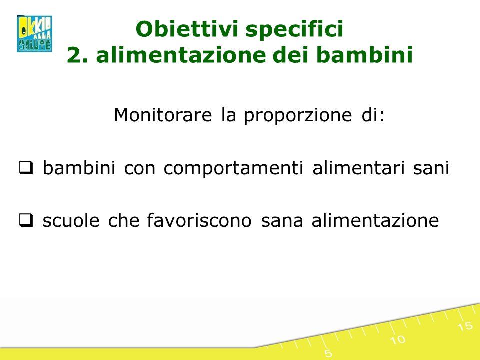 Obiettivi specifici 2. alimentazione dei bambini Monitorare la proporzione di: bambini con comportamenti alimentari sani scuole che favoriscono sana a