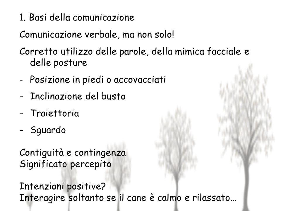 1. Basi della comunicazione Comunicazione verbale, ma non solo! Corretto utilizzo delle parole, della mimica facciale e delle posture -Posizione in pi