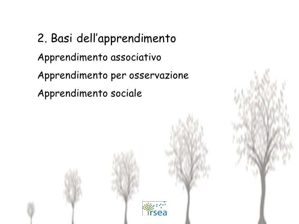 2. Basi dellapprendimento Apprendimento associativo Apprendimento per osservazione Apprendimento sociale