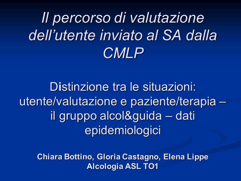 Il percorso di valutazione dellutente inviato al SA dalla CMLP Distinzione tra le situazioni: utente/valutazione e paziente/terapia – il gruppo alcol&
