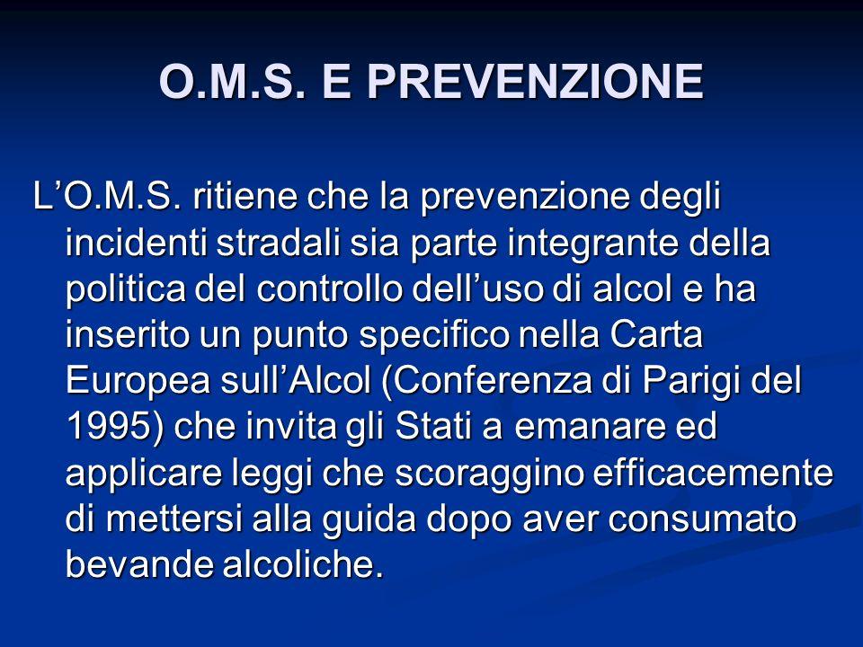 LO.M.S. ritiene che la prevenzione degli incidenti stradali sia parte integrante della politica del controllo delluso di alcol e ha inserito un punto