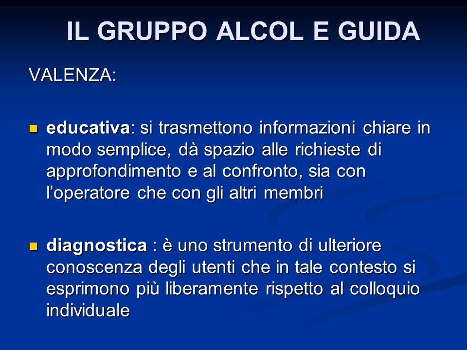 IL GRUPPO ALCOL E GUIDA VALENZA: educativa: si trasmettono informazioni chiare in modo semplice, dà spazio alle richieste di approfondimento e al conf