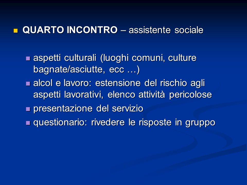 QUARTO INCONTRO – assistente sociale QUARTO INCONTRO – assistente sociale aspetti culturali (luoghi comuni, culture bagnate/asciutte, ecc …) aspetti c