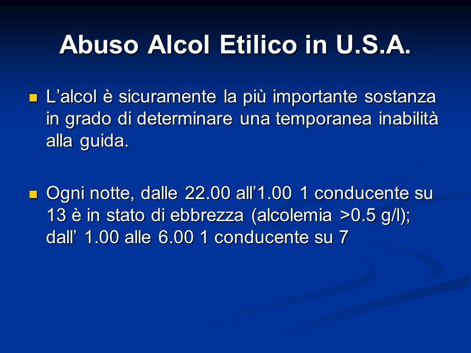 Abuso Alcol Etilico in U.S.A. Lalcol è sicuramente la più importante sostanza in grado di determinare una temporanea inabilità alla guida. Lalcol è si
