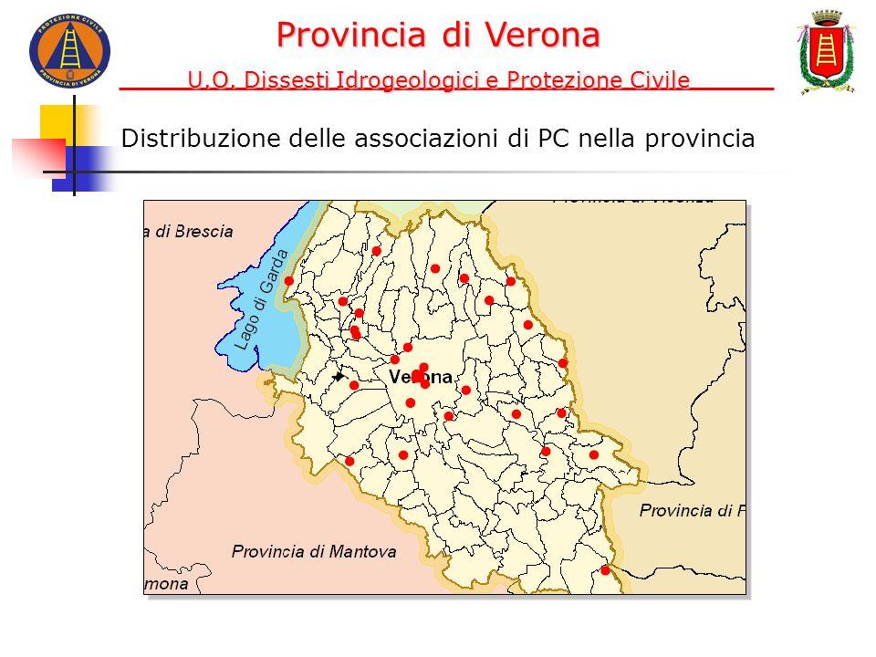 Distribuzione delle associazioni di PC nella provincia Provincia di Verona U.O. Dissesti Idrogeologici e Protezione Civile