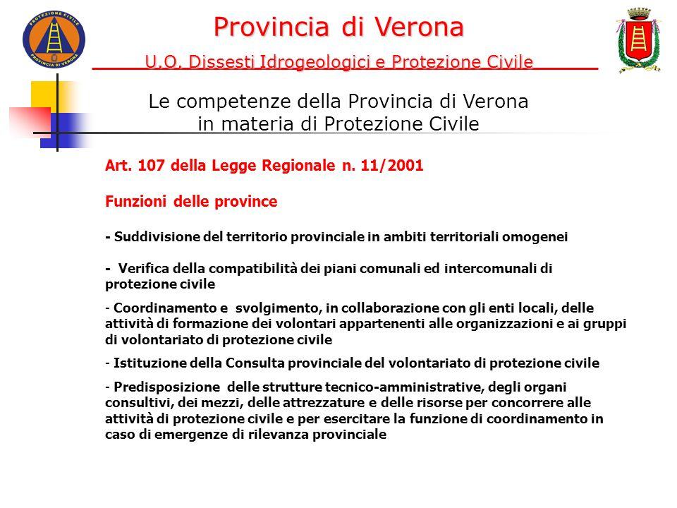 Le competenze della Provincia di Verona in materia di Protezione Civile Art. 107 della Legge Regionale n. 11/2001 Funzioni delle province - Suddivisio