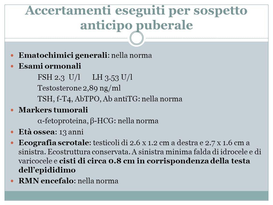 Accertamenti eseguiti per sospetto anticipo puberale Ematochimici generali: nella norma Esami ormonali FSH 2.3 U/lLH 3.53 U/l Testosterone 2,89 ng/ml