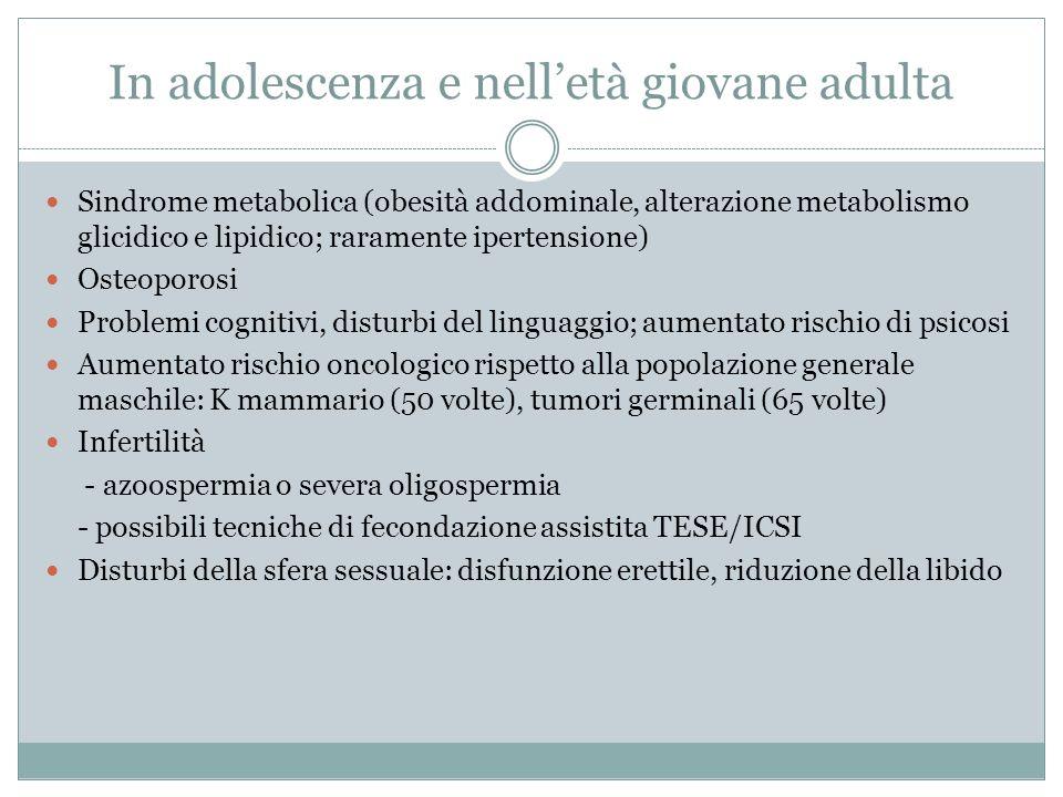 In adolescenza e nelletà giovane adulta Sindrome metabolica (obesità addominale, alterazione metabolismo glicidico e lipidico; raramente ipertensione)