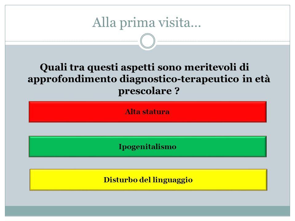 Alla prima visita… Alta statura Ipogenitalismo Disturbo del linguaggio Quali tra questi aspetti sono meritevoli di approfondimento diagnostico-terapeu
