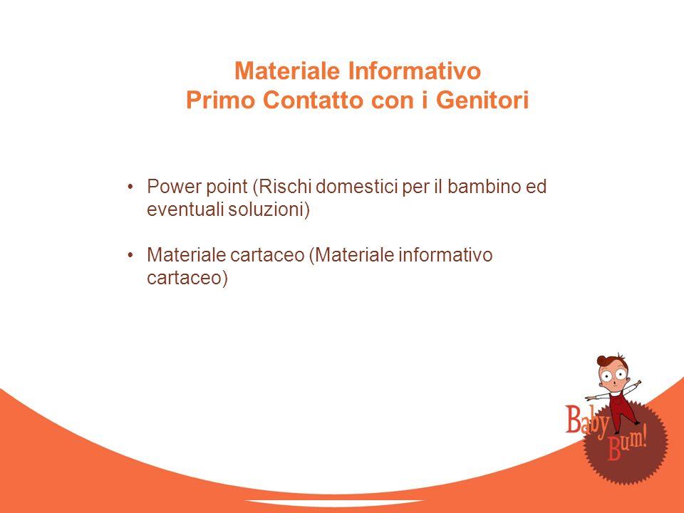 Materiale Informativo Primo Contatto con i Genitori Power point (Rischi domestici per il bambino ed eventuali soluzioni) Materiale cartaceo (Materiale