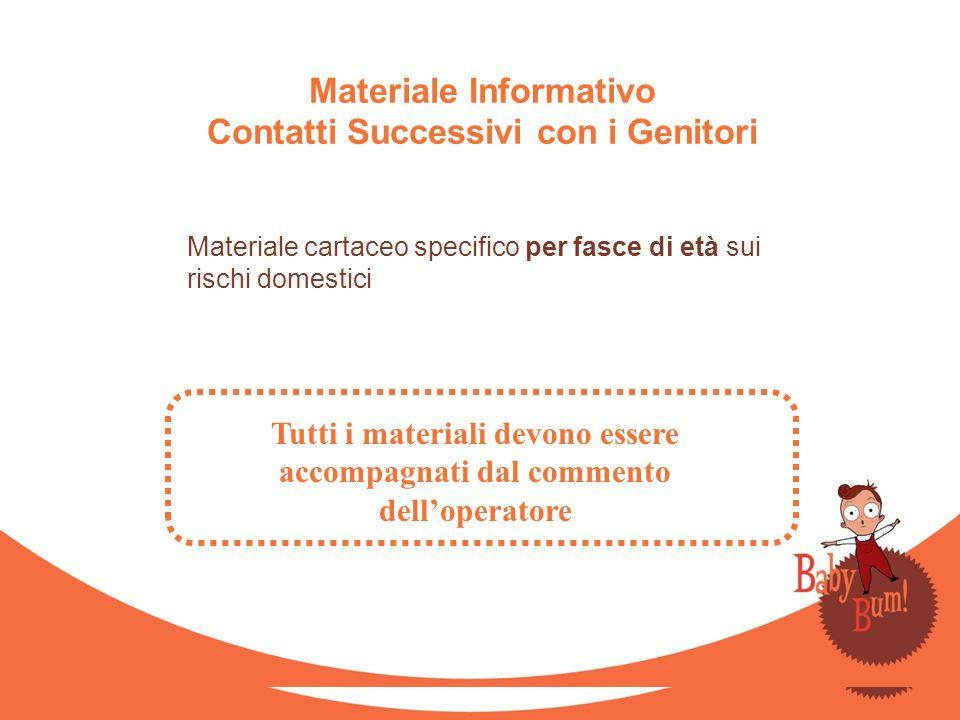 Materiale Informativo Contatti Successivi con i Genitori Materiale cartaceo specifico per fasce di età sui rischi domestici Tutti i materiali devono e