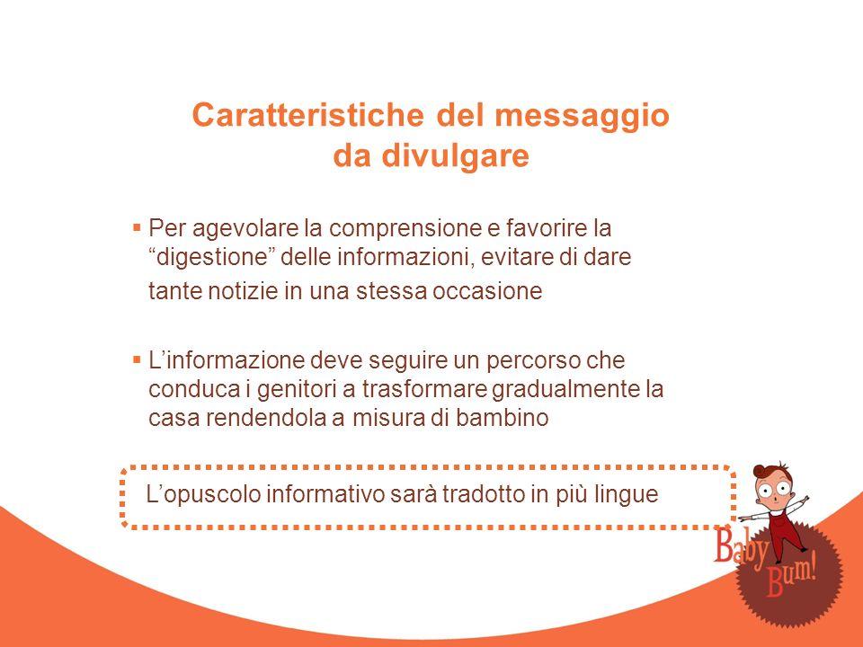 Caratteristiche del messaggio da divulgare Per agevolare la comprensione e favorire la digestione delle informazioni, evitare di dare tante notizie in
