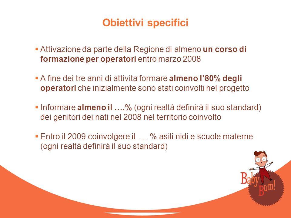 Attivazione da parte della Regione di almeno un corso di formazione per operatori entro marzo 2008 A fine dei tre anni di attivita formare almeno l80%
