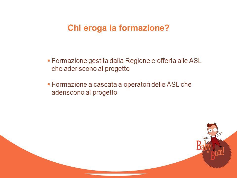 Formazione gestita dalla Regione e offerta alle ASL che aderiscono al progetto Formazione a cascata a operatori delle ASL che aderiscono al progetto C