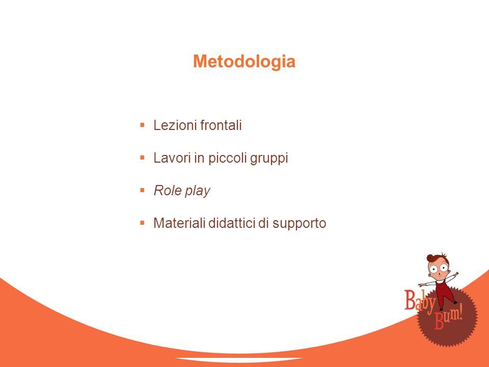 Metodologia Lezioni frontali Lavori in piccoli gruppi Role play Materiali didattici di supporto