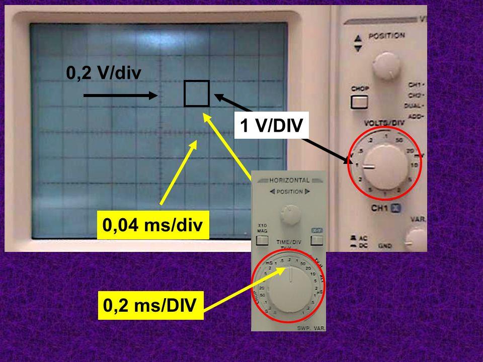 0,2 V/div 0,2 ms/DIV 0,04 ms/div 1 V/DIV