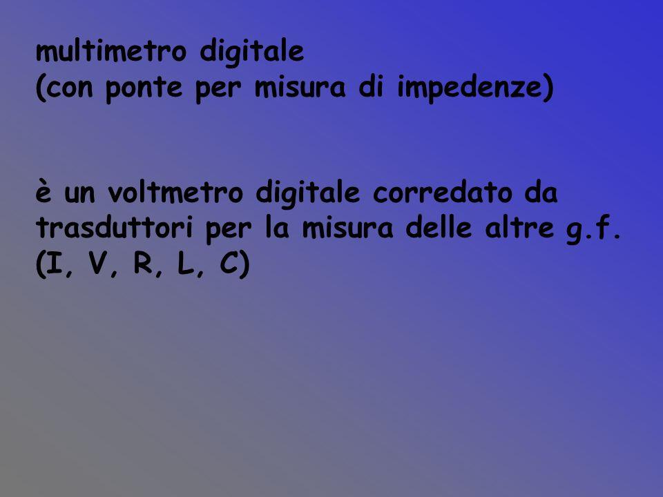 multimetro digitale (con ponte per misura di impedenze) è un voltmetro digitale corredato da trasduttori per la misura delle altre g.f. (I, V, R, L, C