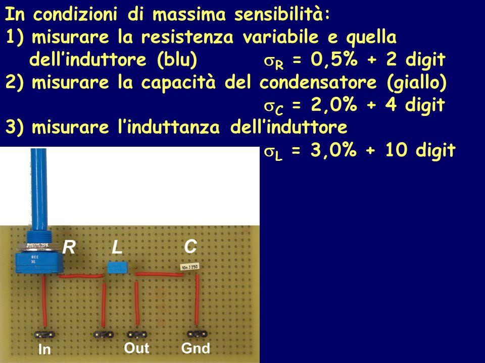 In condizioni di massima sensibilità: 1) misurare la resistenza variabile e quella dellinduttore (blu) R = 0,5% + 2 digit 2) misurare la capacità del