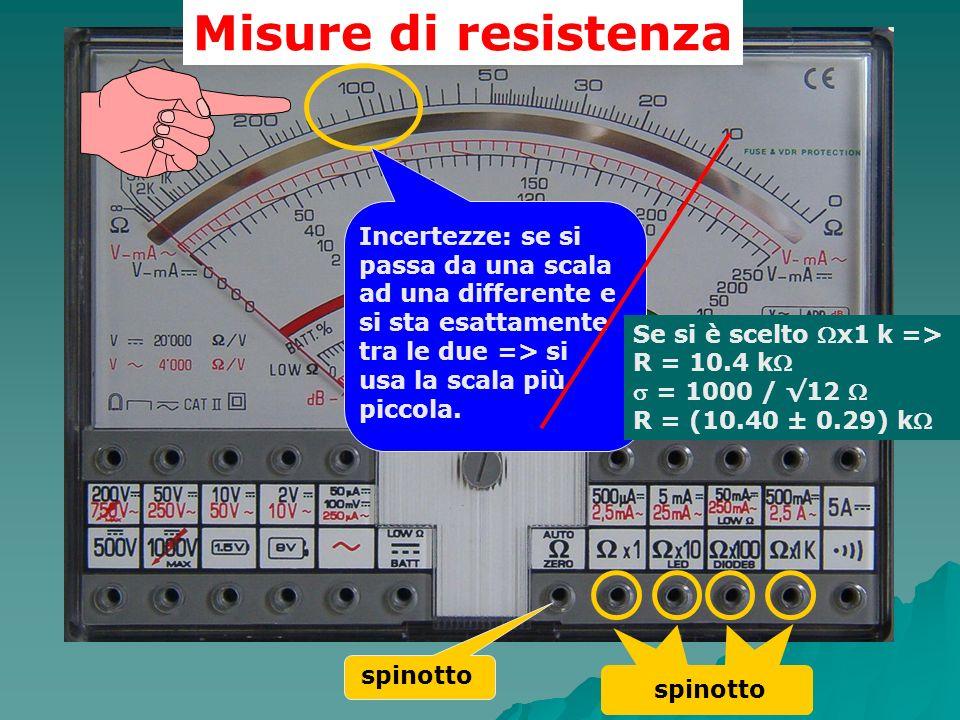 Misure di resistenza spinotto Incertezze: se si passa da una scala ad una differente e si sta esattamente tra le due => si usa la scala più piccola. S