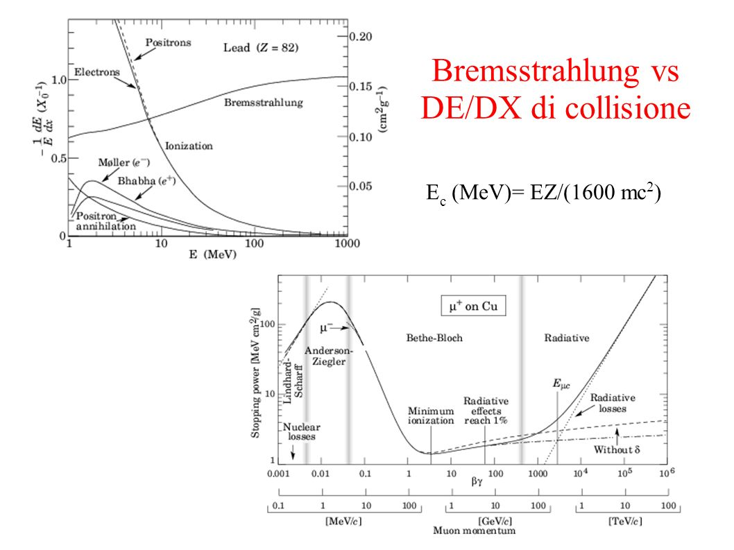Bremsstrahlung vs DE/DX di collisione E c (MeV)= EZ/(1600 mc 2 )