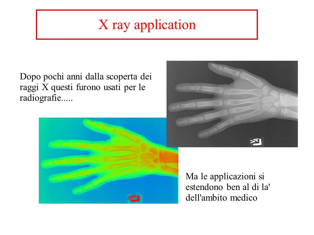 X ray application Dopo pochi anni dalla scoperta dei raggi X questi furono usati per le radiografie..... Ma le applicazioni si estendono ben al di la'
