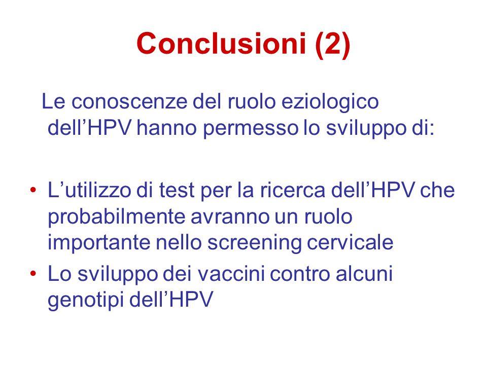 Conclusioni (2) Le conoscenze del ruolo eziologico dellHPV hanno permesso lo sviluppo di: Lutilizzo di test per la ricerca dellHPV che probabilmente a
