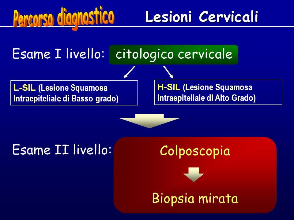 Esame II livello: H-SIL (Lesione Squamosa Intraepiteliale di Alto Grado) L-SIL (Lesione Squamosa Intraepiteliale di Basso grado) Lesioni Cervicali Esa