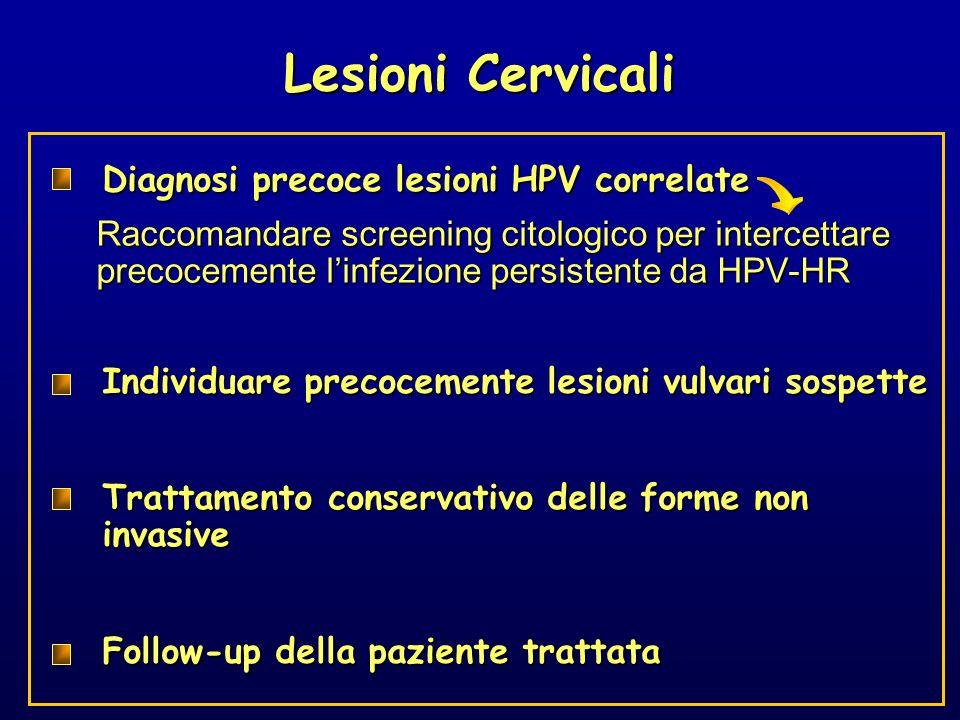 Diagnosi precoce lesioni HPV correlate Raccomandare screening citologico per intercettare precocemente linfezione persistente da HPV-HR Trattamento co