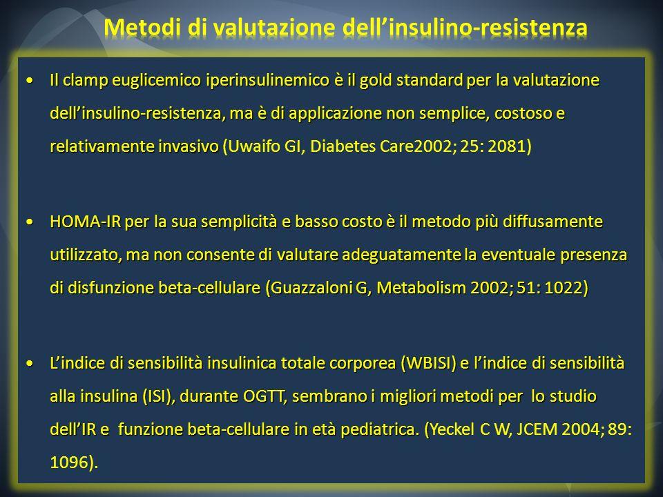 Il clamp euglicemico iperinsulinemico è il gold standard per la valutazione dellinsulino-resistenza, ma è di applicazione non semplice, costoso e rela
