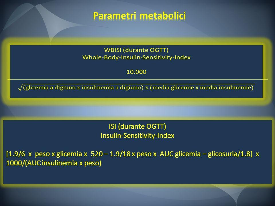 ISI (durante OGTT) Insulin-Sensitivity-Index [1.9/6 x peso x glicemia x 520 – 1.9/18 x peso x AUC glicemia – glicosuria/1.8] x 1000/(AUC insulinemia x