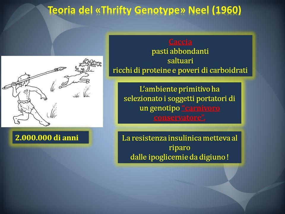 2.000.000 di anni Lambiente primitivo ha selezionato i soggetti portatori di un genotipo carnivoro conservatore. La resistenza insulinica metteva al r