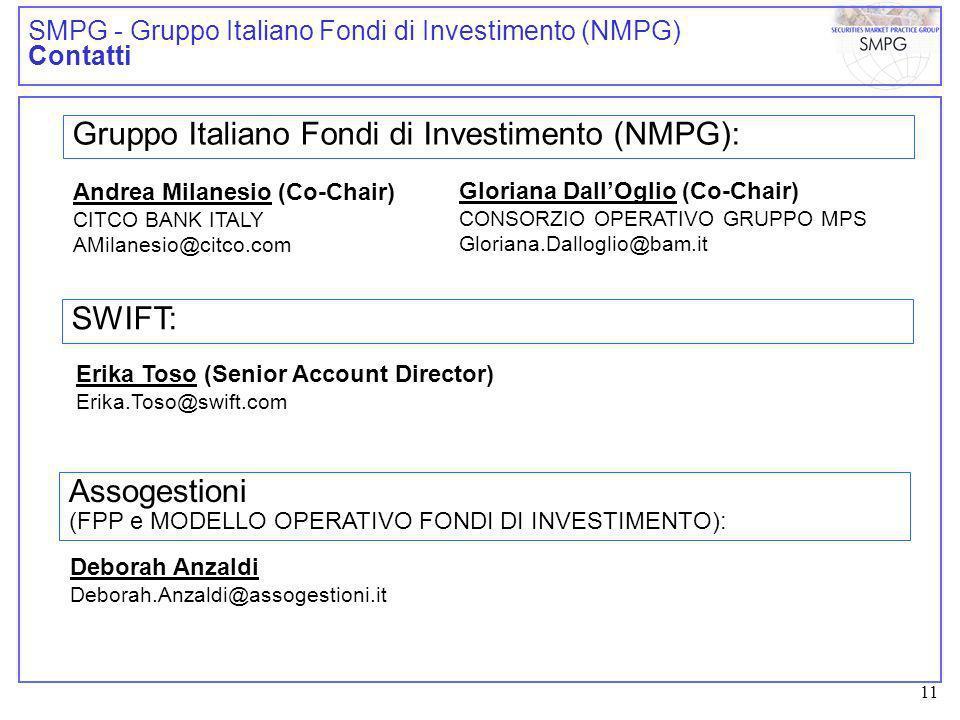 11 SMPG - Gruppo Italiano Fondi di Investimento (NMPG) Contatti Gruppo Italiano Fondi di Investimento (NMPG): Andrea Milanesio (Co-Chair) CITCO BANK ITALY AMilanesio@citco.com Gloriana DallOglio (Co-Chair) CONSORZIO OPERATIVO GRUPPO MPS Gloriana.Dalloglio@bam.it SWIFT: Erika Toso (Senior Account Director) Erika.Toso@swift.com Assogestioni (FPP e MODELLO OPERATIVO FONDI DI INVESTIMENTO): Deborah Anzaldi Deborah.Anzaldi@assogestioni.it