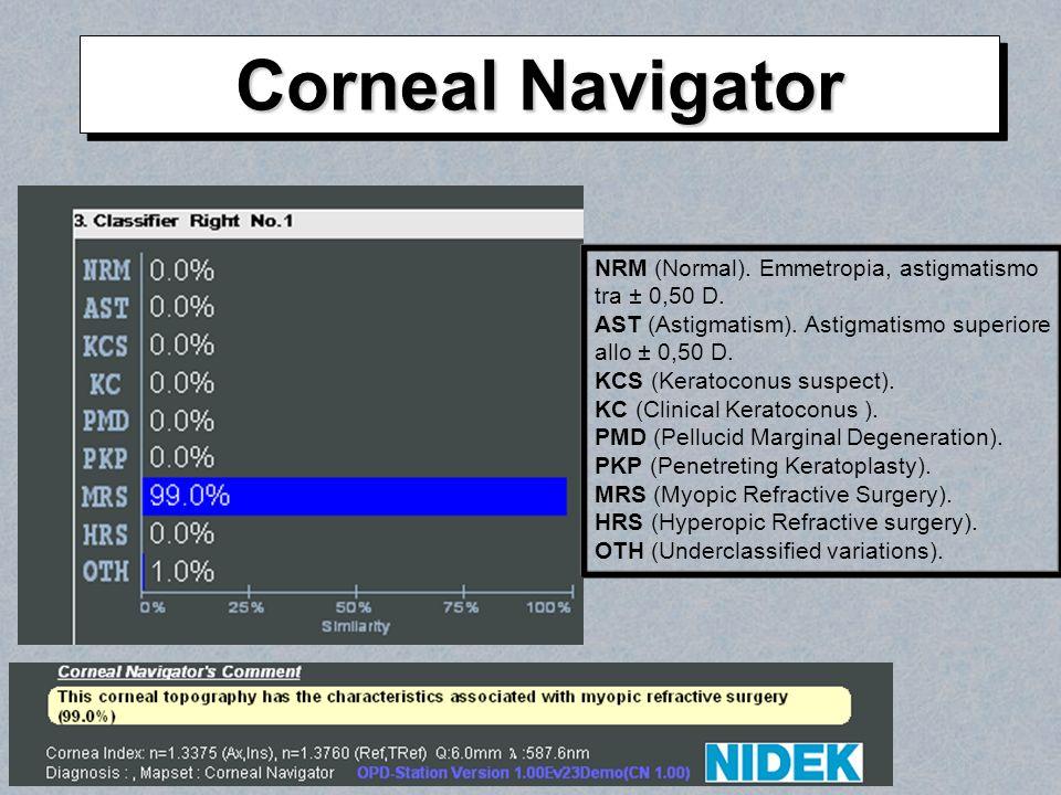 NRM (Normal). Emmetropia, astigmatismo tra ± 0,50 D. AST (Astigmatism). Astigmatismo superiore allo ± 0,50 D. KCS (Keratoconus suspect). KC (Clinical