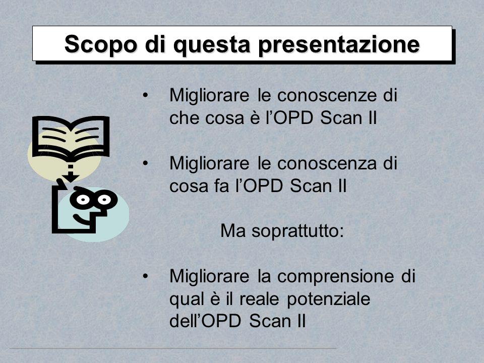 Migliorare le conoscenze di che cosa è lOPD Scan II Migliorare le conoscenza di cosa fa lOPD Scan II Ma soprattutto: Migliorare la comprensione di qua