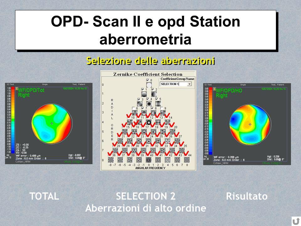 Selezione delle aberrazioni TOTALSELECTION 2 Aberrazioni di alto ordine Risultato OPD- Scan II e opd Station aberrometria OPD- Scan II e opd Station a