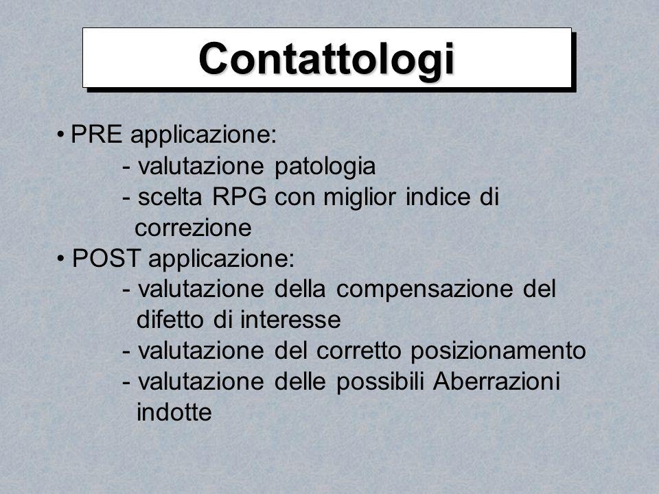 ContattologiContattologi PRE applicazione: - valutazione patologia - scelta RPG con miglior indice di correzione POST applicazione: - valutazione dell