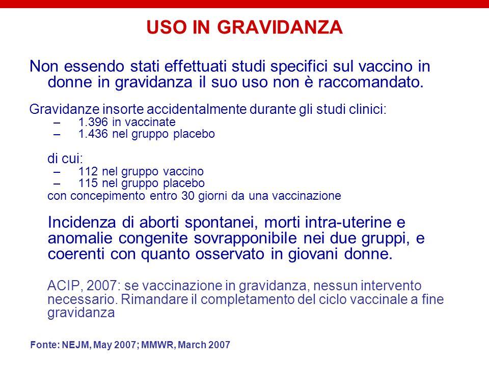 USO IN GRAVIDANZA Non essendo stati effettuati studi specifici sul vaccino in donne in gravidanza il suo uso non è raccomandato. Gravidanze insorte ac