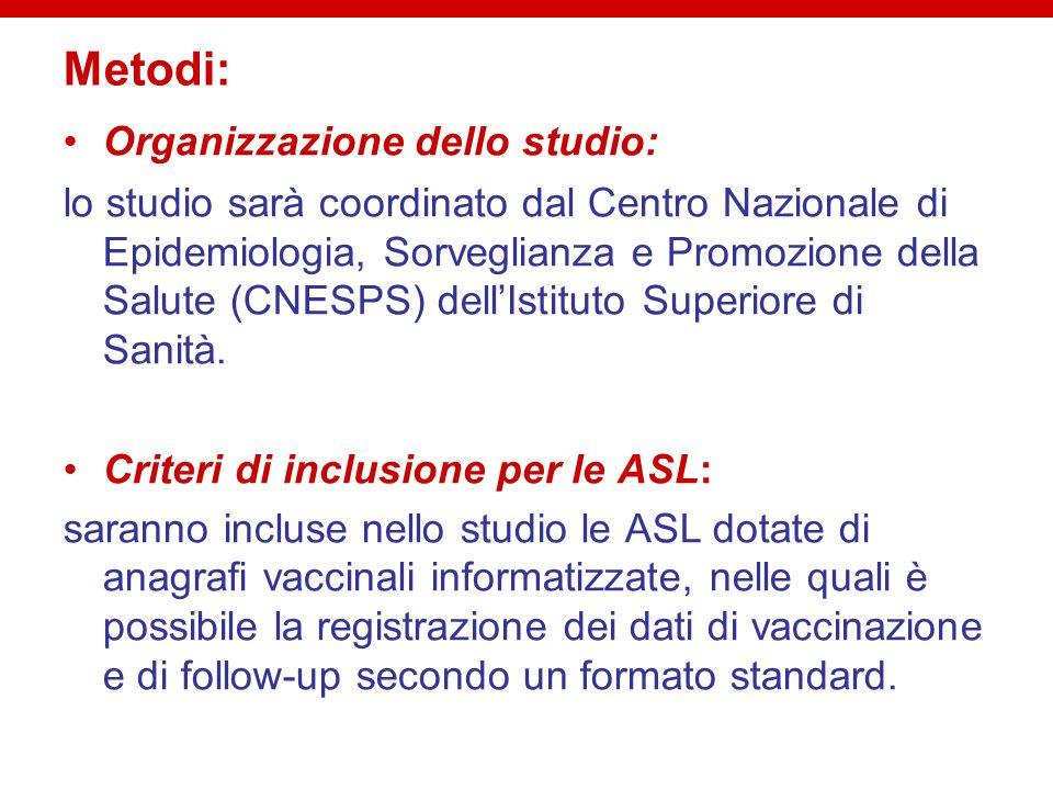Metodi: Organizzazione dello studio: lo studio sarà coordinato dal Centro Nazionale di Epidemiologia, Sorveglianza e Promozione della Salute (CNESPS)