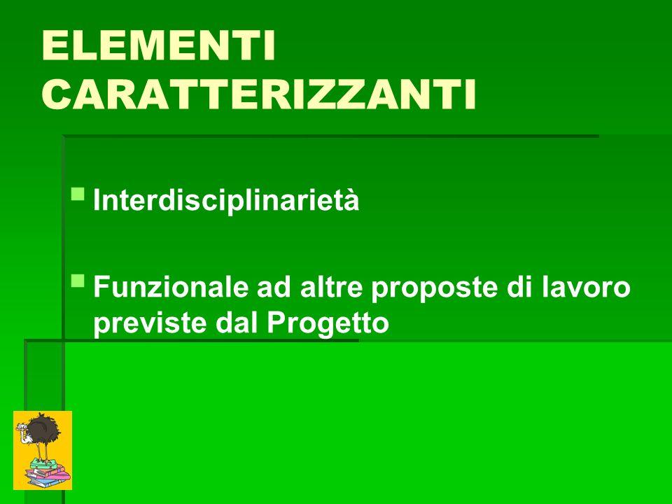 ELEMENTI CARATTERIZZANTI Interdisciplinarietà Funzionale ad altre proposte di lavoro previste dal Progetto