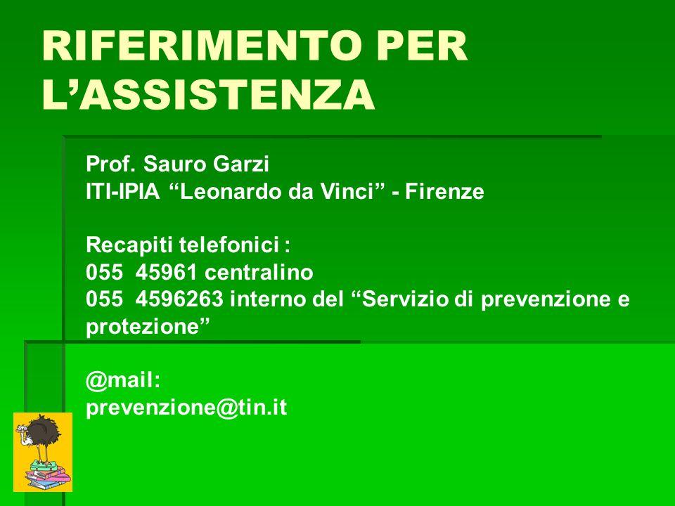 RIFERIMENTO PER LASSISTENZA Prof. Sauro Garzi ITI-IPIA Leonardo da Vinci - Firenze Recapiti telefonici : 055 45961 centralino 055 4596263 interno del