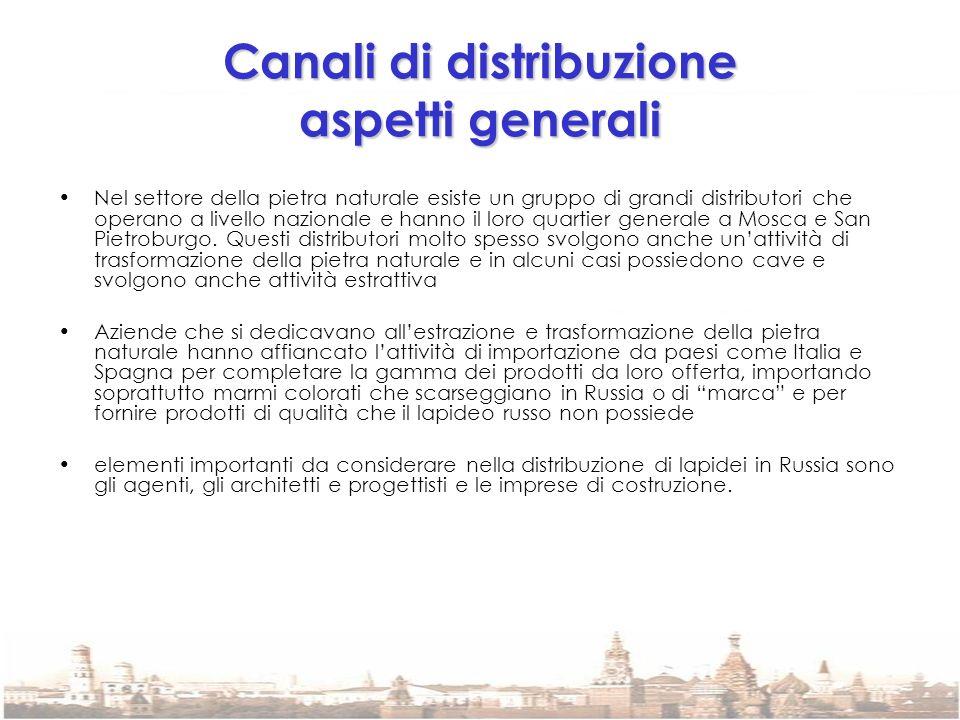 Canali di distribuzione aspetti generali Nel settore della pietra naturale esiste un gruppo di grandi distributori che operano a livello nazionale e h