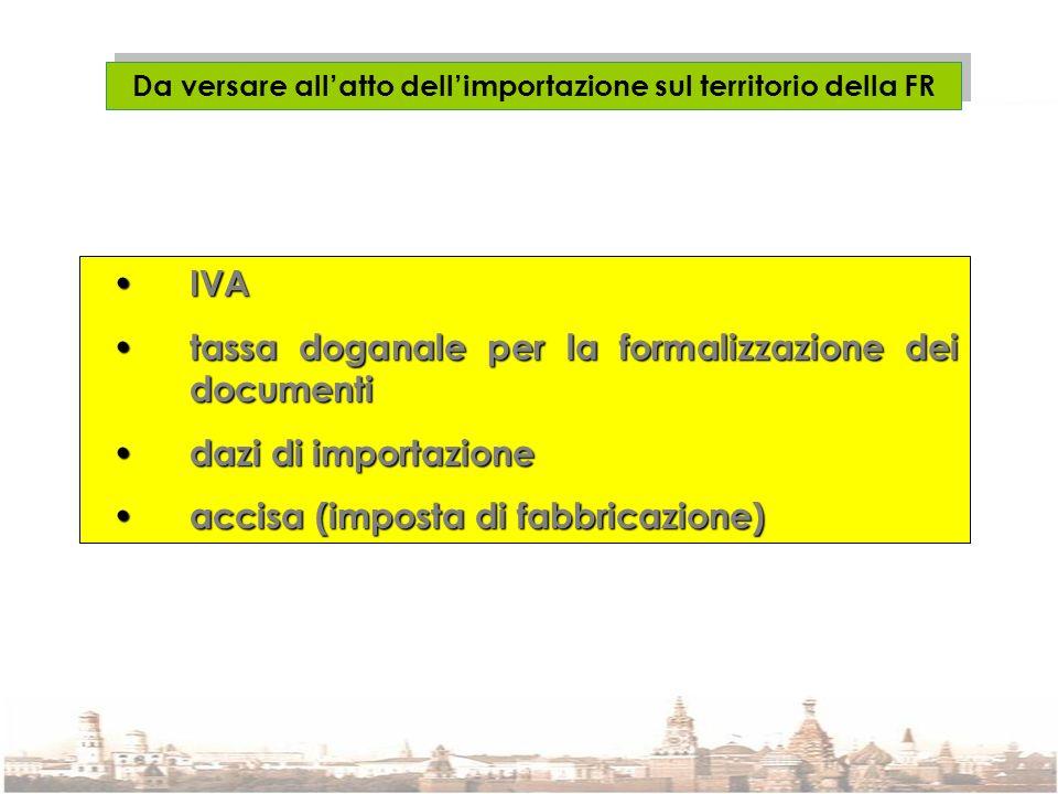 Da versare allatto dellimportazione sul territorio della FR IVA IVA tassa doganale per la formalizzazione dei documenti tassa doganale per la formaliz
