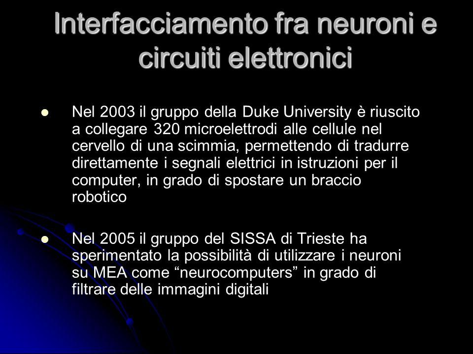 Nel 2003 il gruppo della Duke University è riuscito a collegare 320 microelettrodi alle cellule nel cervello di una scimmia, permettendo di tradurre d