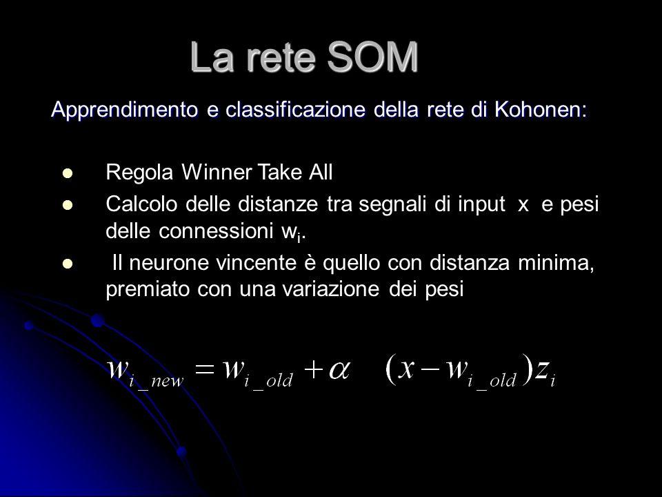Regola Winner Take All Calcolo delle distanze tra segnali di input x e pesi delle connessioni w i. Il neurone vincente è quello con distanza minima, p