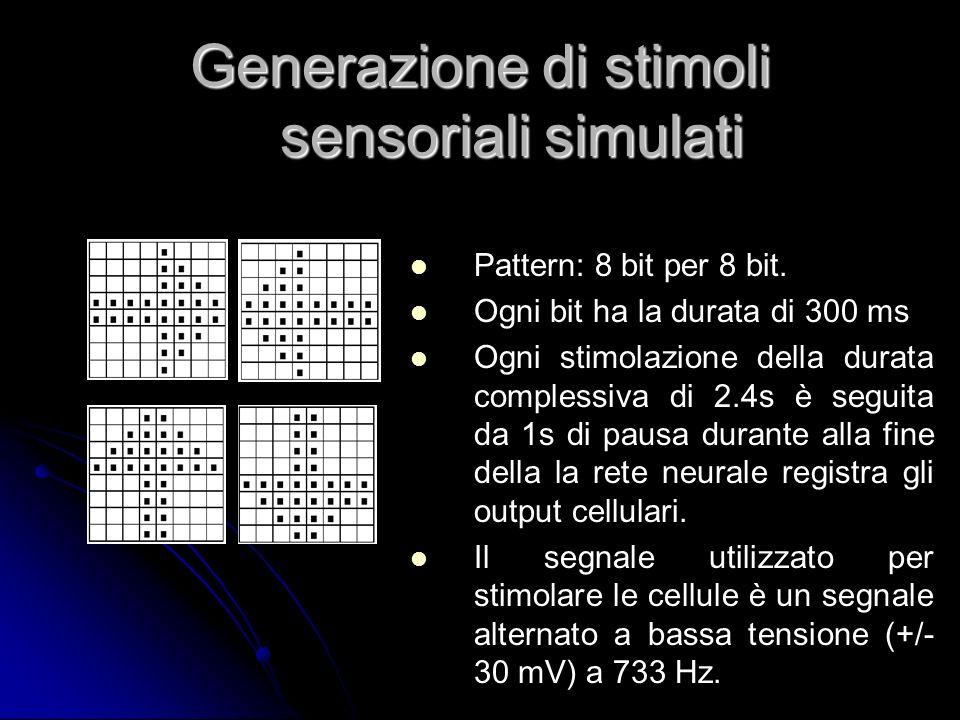 Generazione di stimoli sensoriali simulati Pattern: 8 bit per 8 bit. Ogni bit ha la durata di 300 ms Ogni stimolazione della durata complessiva di 2.4