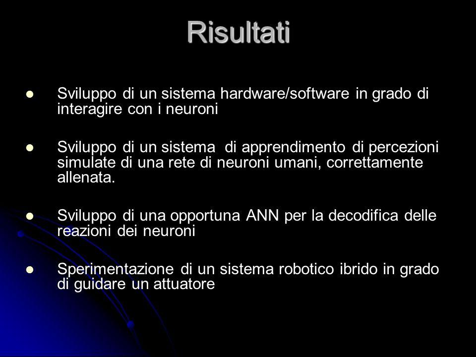 Risultati Sviluppo di un sistema hardware/software in grado di interagire con i neuroni Sviluppo di un sistema di apprendimento di percezioni simulate
